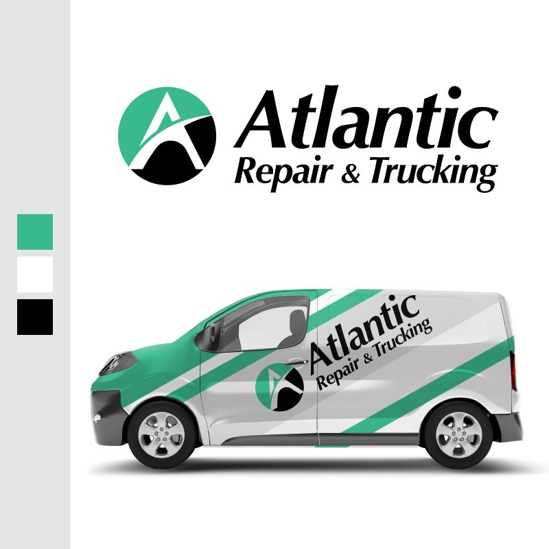 Atlantic Repair and Trucking Logo and Vehicle Wrap Graphics